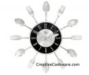 "Fork - Spoon Black Face 15"" Cutlery Clock"