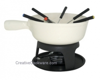 2.2 Qt - 2 Lts Le Cuistot White Cheese Fondue Caquelon Set