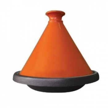 2.4 Qt - 2.2 Lts Le Cuistot Orange Cast Iron Tagine