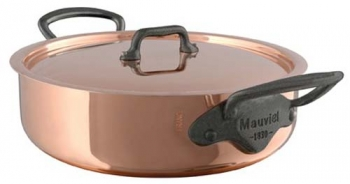Mauviel M'250C 5 Qt - 4.7 Lts Saute / Rondeau Pan with Lid 2.5mm