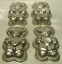 "Bear Shape 5"" - 13cm Tin Pan Set of 4 - HOT DEAL"