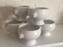 Porcelain White Onion Bowls Set of 6