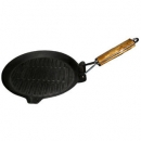 "Cast Iron Seasoned 9""- 23cm Round Grill Pan with Wood Handle"