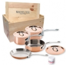 Mauviel M'150s Copper Cookware 7 Pcs Set with Crate