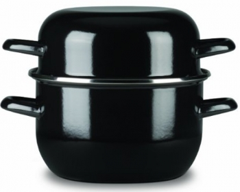 FinalTouch 3 Qt - 2.8 Lts Mussel Black Steel Pot with Dome Lid