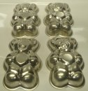 "Bear Shape 5"" - 13cm Tin Pan Set of 4 HOT DEAL"