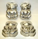 "Bear / Panda Shape 4.5"" - 12cm Tin Pan Set of 4"